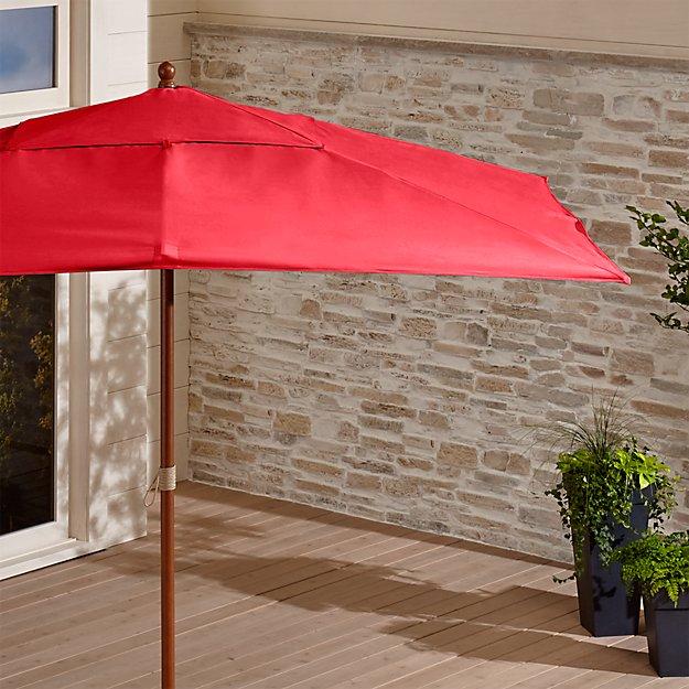 Rectangular Sunbrella ® Ribbon Red Outdoor Umbrella with Eucalyptus Frame