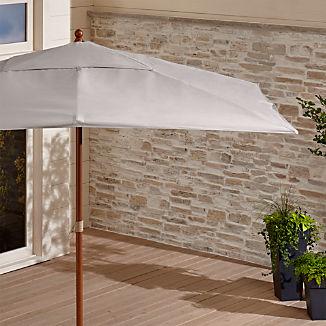 Rectangular Sunbrella ® Silver Patio Umbrella with Eucalyptus Frame