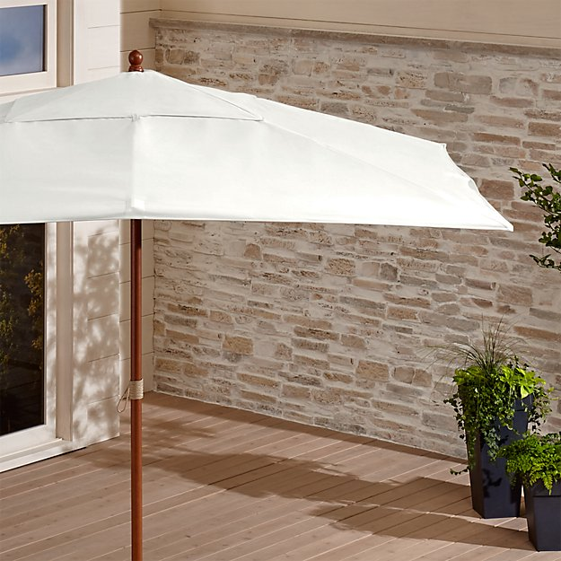 Rectangular Sunbrella ® White Sand Patio Umbrella with Eucalyptus Frame
