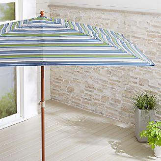 Rectangular Sunbrella Pacific Stripe Patio Umbrella With Eucalyptus Frame