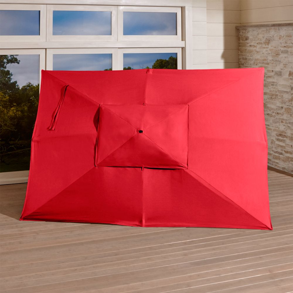 Rectangular Sunbrella ® Ribbon Red Outdoor Umbrella Canopy - Crate and Barrel