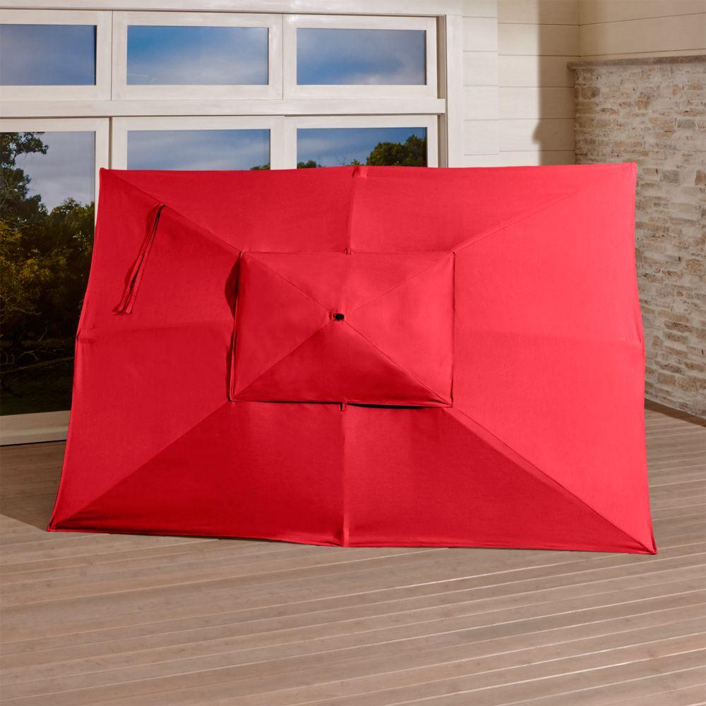 Rectangular Sunbrella ® Ribbon Red Outdoor Umbrella Canopy