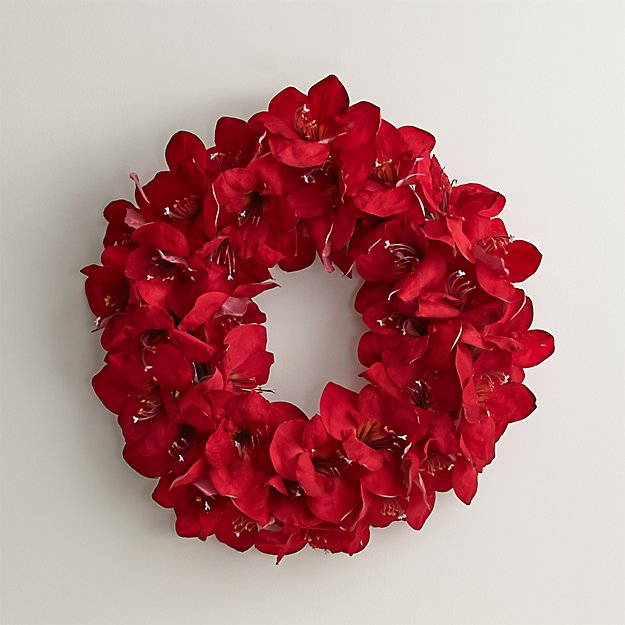 red amaryllis wreath reviews crate and barrel