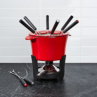 Red Cast Iron Fondue Set