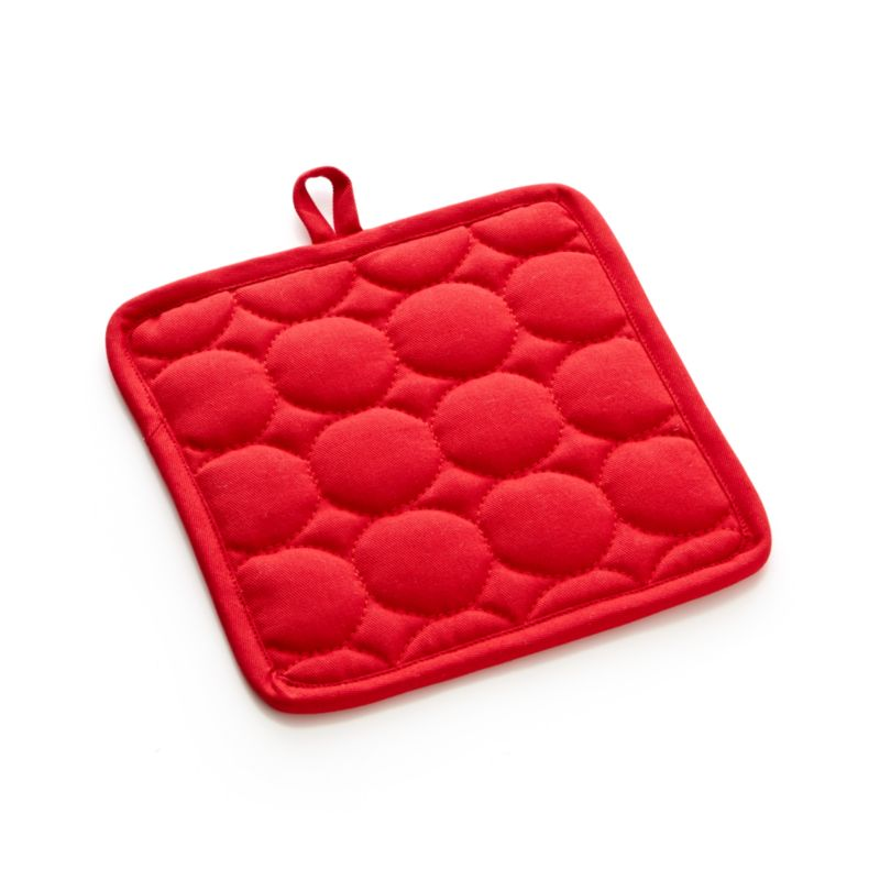 Distinctive circle quilting pops with fun texture on our bright crimson cotton potholder with plush terry lining and hanging loop.<br /><br /><NEWTAG/><ul><li>100% cotton body and terry lining</li><li>100% polyester fill</li><li>Machine wash</li></ul>
