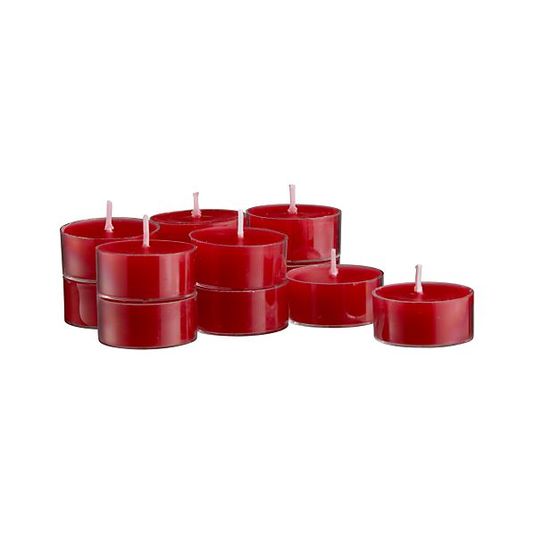Set of 12 Clear-Cupped Red Tealight Candles