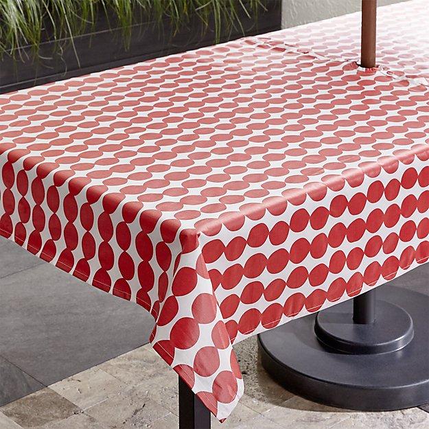 """Red Dots Umbrella 54""""x90"""" Tablecloth"""