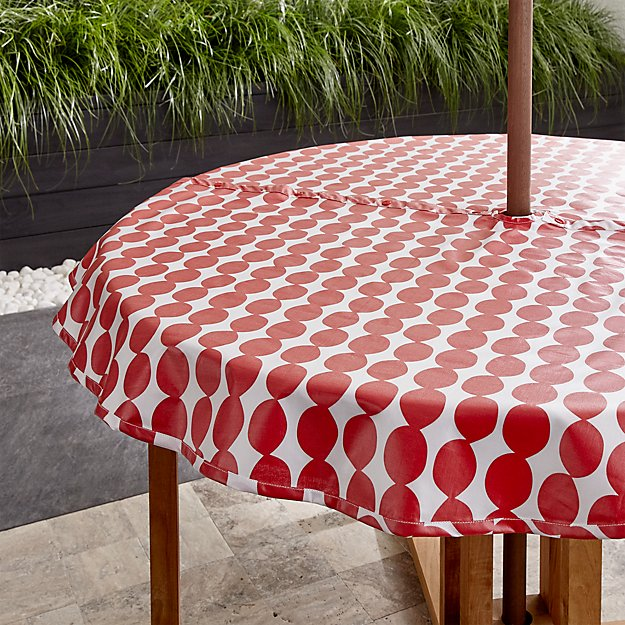 Dotted Red Round Umbrella Tablecloth 58 Crate And Barrel