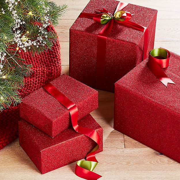 red glitter gift wrap reviews crate and barrel
