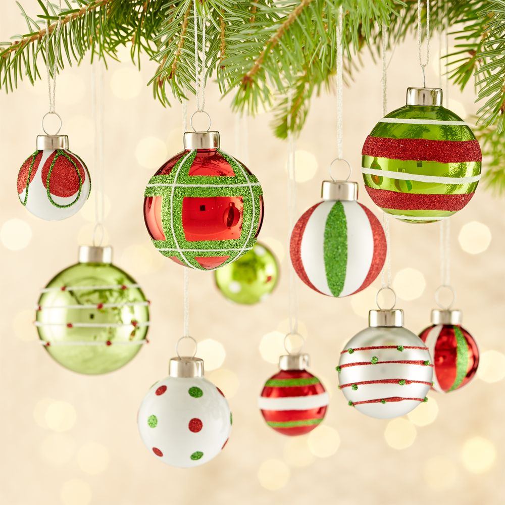 Red/Green Ornaments, Set of 10