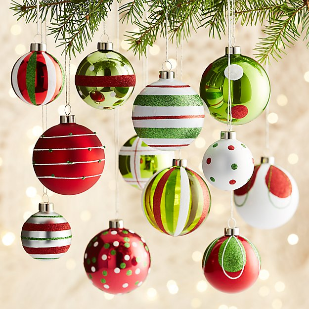 Red/Green Ornaments, Set of 12