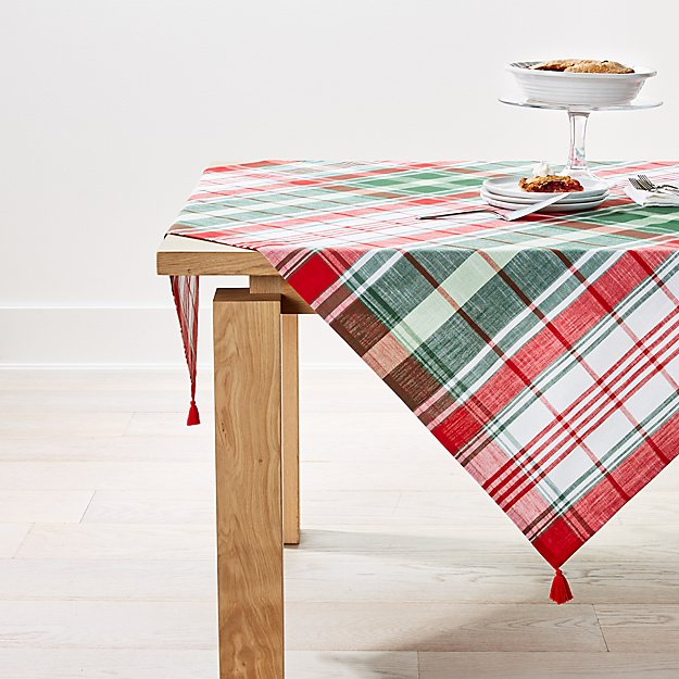 Red and Green Plaid Table Throw - Image 1 of 2