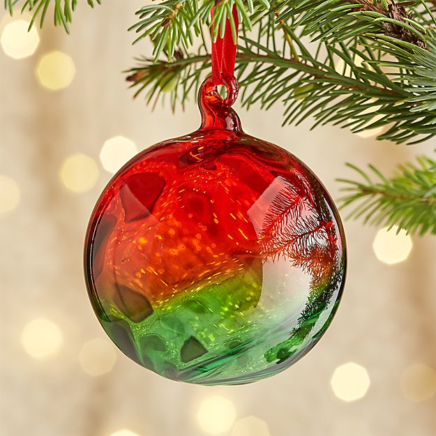 Red and Green Glass Ball Ornament