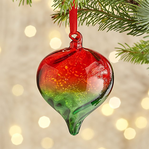 Red and Green Glass Onion Ornament