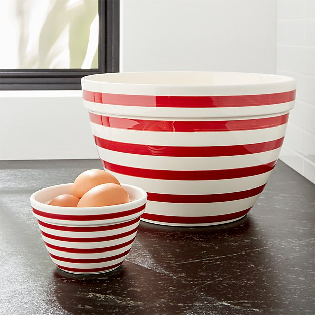 Red and White Stripe Bowls