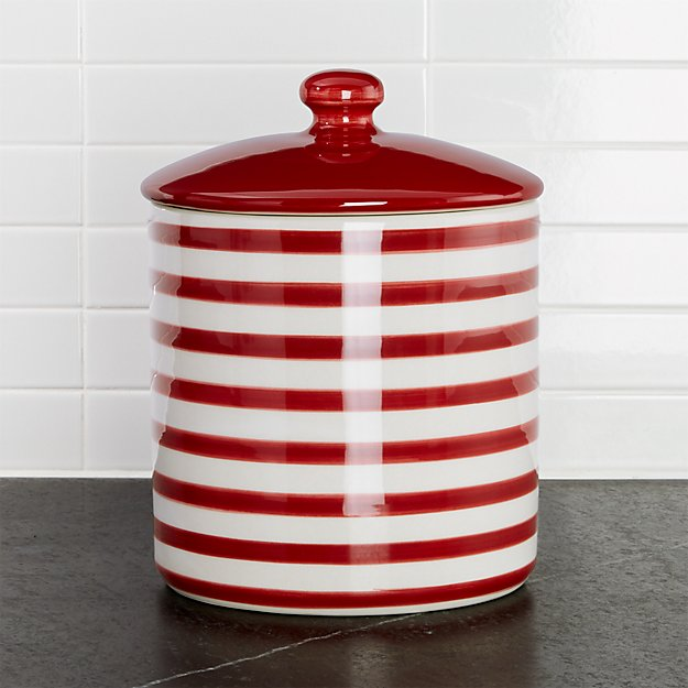Red-and-White Striped Cookie Jar
