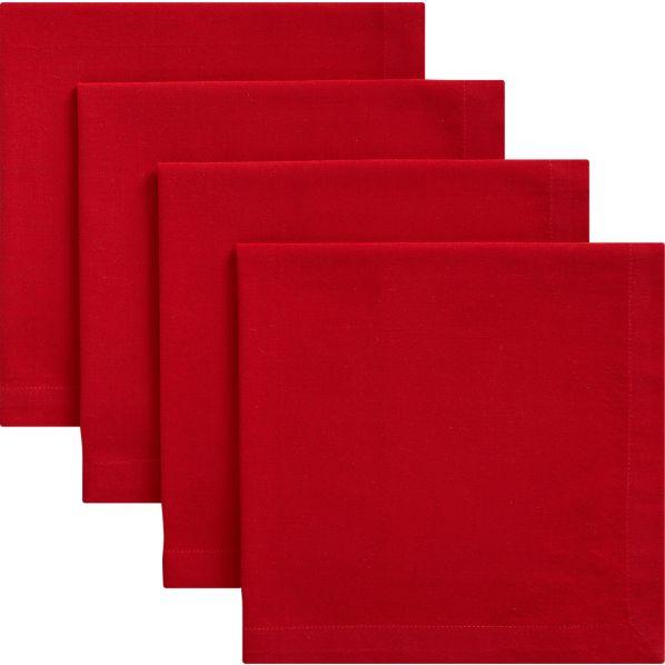 Set of 4 Red Napkins
