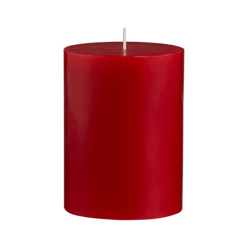 """Vibrant red makes merry candlelight for the holidays, romance for the rest of the year.<br /><br /><NEWTAG/><ul><li>Paraffin wax</li><li>Cotton wick</li><li>Unscented</li><li>Approx. burn times: 3""""x4"""" pillar</li></ul>"""