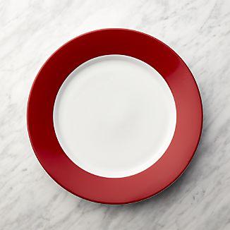 Red Rim Buffet Plate