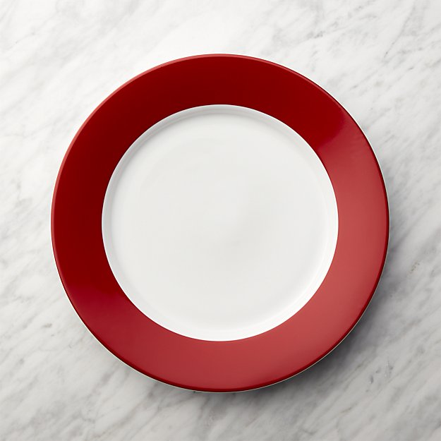 Red Rim Buffet Plate - Image 1 of 6