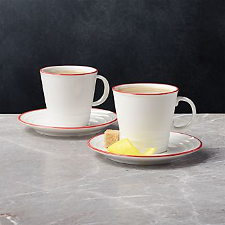 Red Rim Espresso Cups And Saucers Set Of 2