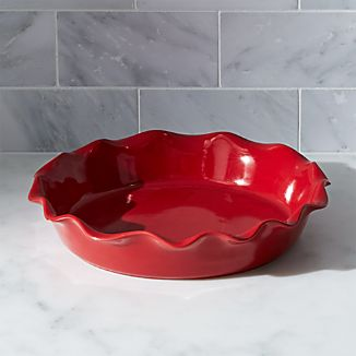 "Red Ruffled 9"" Pie Dish"