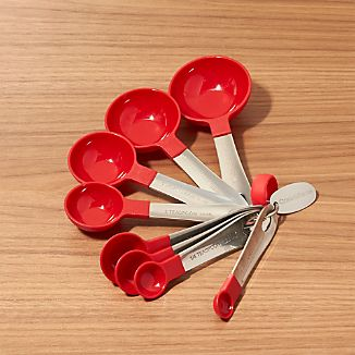 Red Stainless Steel Measuring Spoons, Set of 8