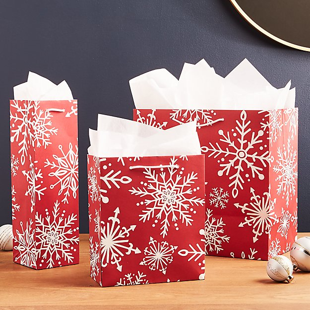 Red Snowflake Gift Bags
