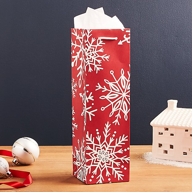 Red Snowflake Wine Gift Bag