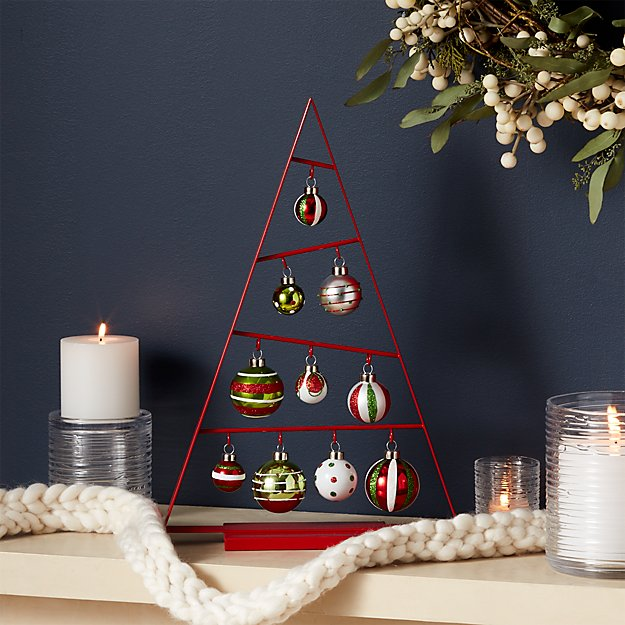Small Red A-Frame Ornament Tree with Set of 10 Red/Green Ornament Set