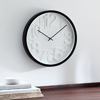 Large Black Wall Clock wall clocks | crate and barrel