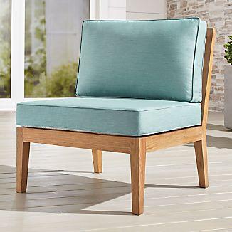Regatta Natural Armless Chair With Sunbrella ® Cushions