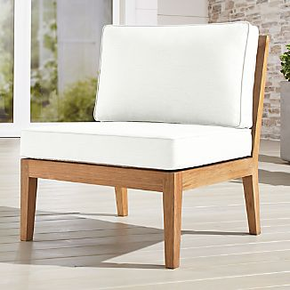 Regatta Natural Armless Chair with Sunbrella ® Cushions & Outdoor Teak Furniture | Crate and Barrel