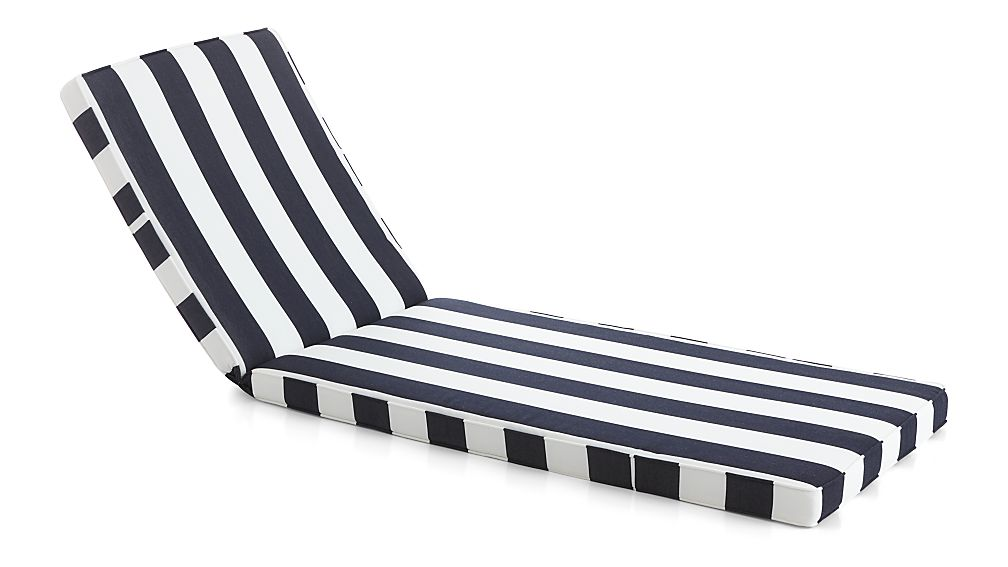 Regatta Cabana Stripe Navy Sunbrella ® Chaise Lounge Cushion - Image 1 of 2