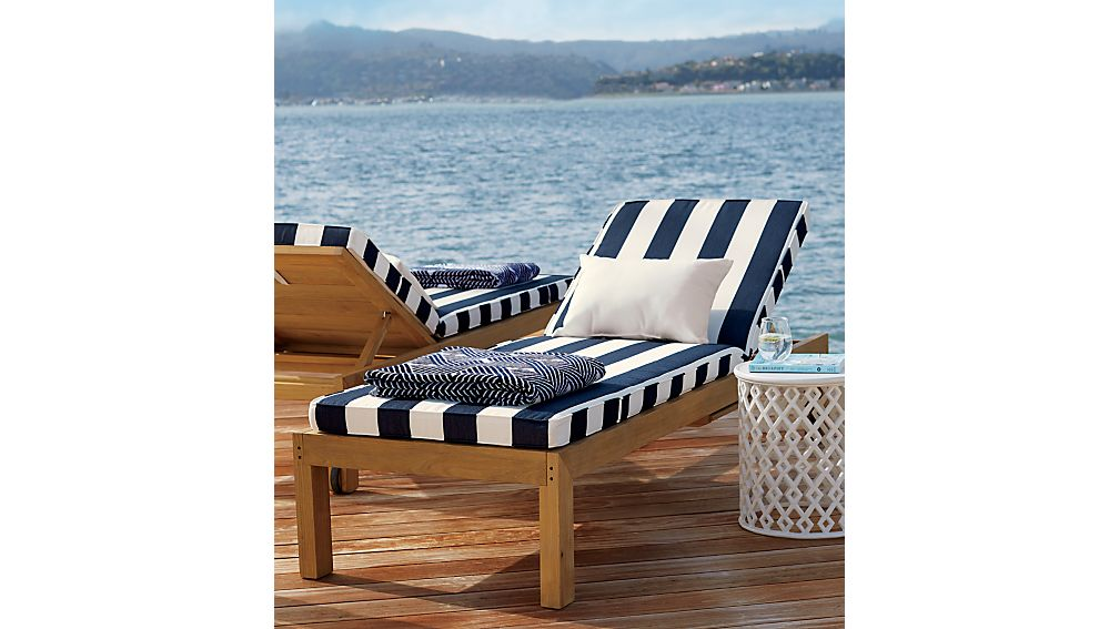 Regatta black and white chaise lounge crate and barrel for Black and white striped chaise lounge cushions