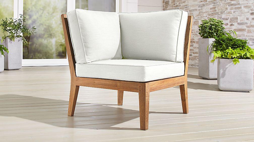 regatta natural corner chair with sunbrella cushion crate an
