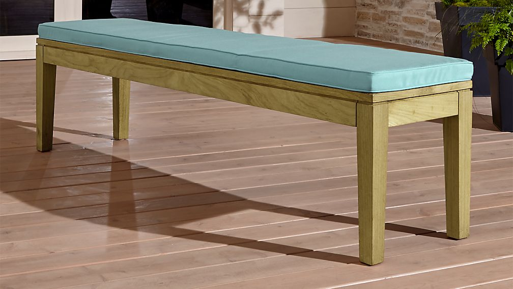 Regatta Natural Dining Bench with Soft Mineral Sunbrella ® Cushion - Image 1 of 4