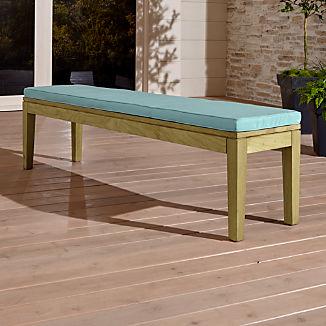 Regatta Natural Dining Bench with Soft Mineral Sunbrella ® Cushion