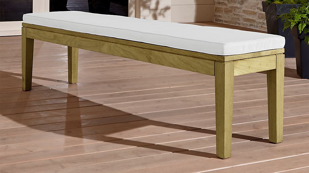 Regatta Natural Dining Bench with White Sand Sunbrella ® Cushion - Image 1 of 5