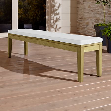 Fine Teak Dining Bench With White Cushion Crate And Barrel Ncnpc Chair Design For Home Ncnpcorg