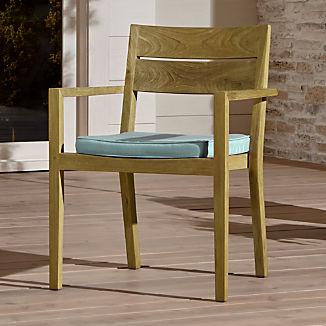 Regatta Natural Dining Chair with Soft Mineral Sunbrella ® Cushion