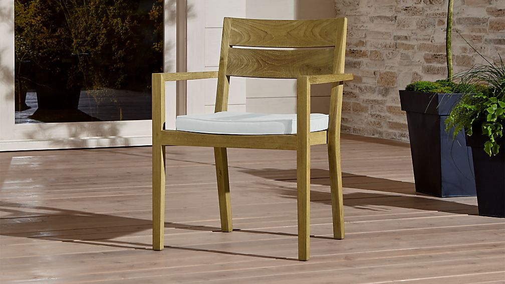 Regatta Natural Dining Chair with White Sand Sunbrella ® Cushion - Image 1 of 5