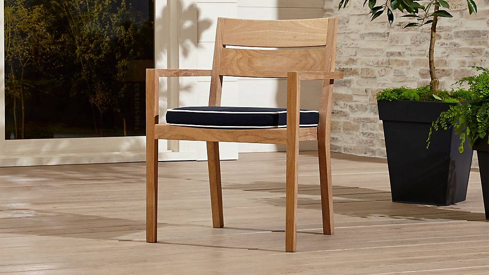 Regatta Natural Dining Chair With Navy Sunbrella Cushion Crate And
