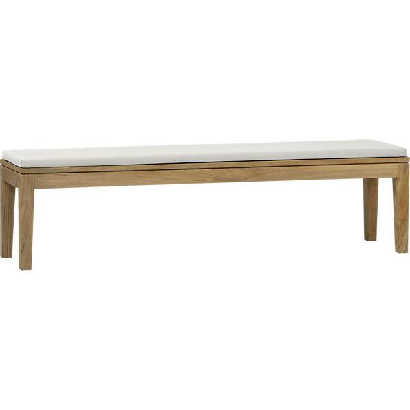 Regatta Dining Bench with Sunbrella ® White Sand Cushion