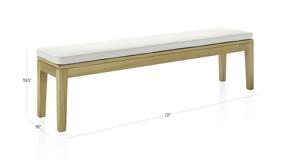 Teak Dining Bench With White Cushion In Dining Furniture