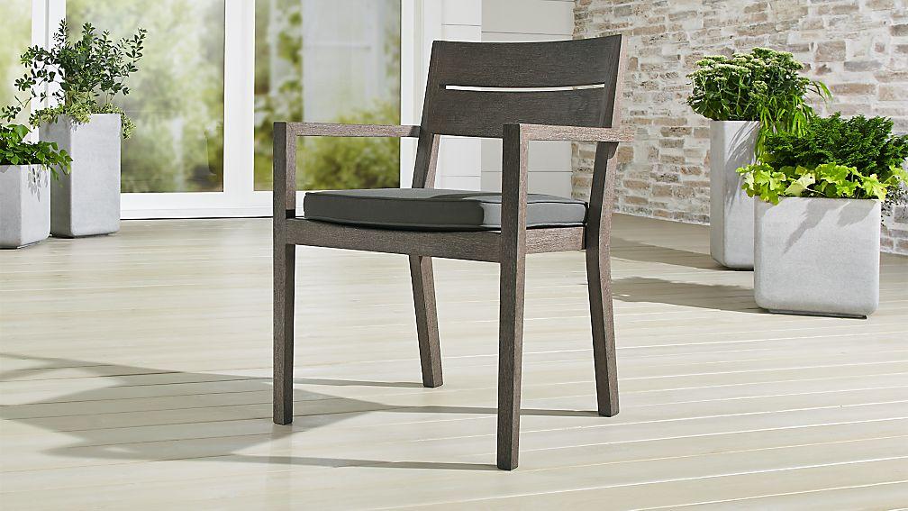 Regatta Grey Wash Dining Chair with Graphite Sunbrella ®  Cushion - Image 1 of 8