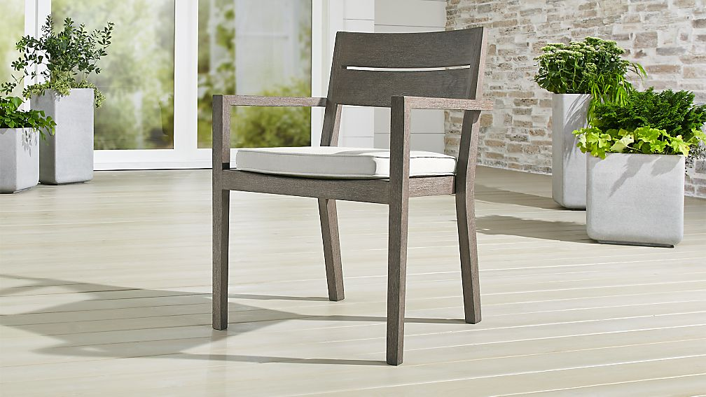 Regatta Grey Wash Dining Chair with White Sand Sunbrella ® Cushion - Image 1 of 6