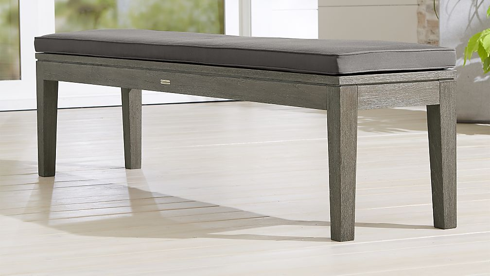 Regatta Grey Wash Dining Bench with Graphite Sunbrella ® Cushion - Image 1 of 3