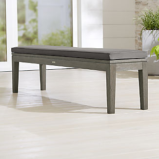 Regatta Grey Wash Dining Bench with Graphite Sunbrella ® Cushion