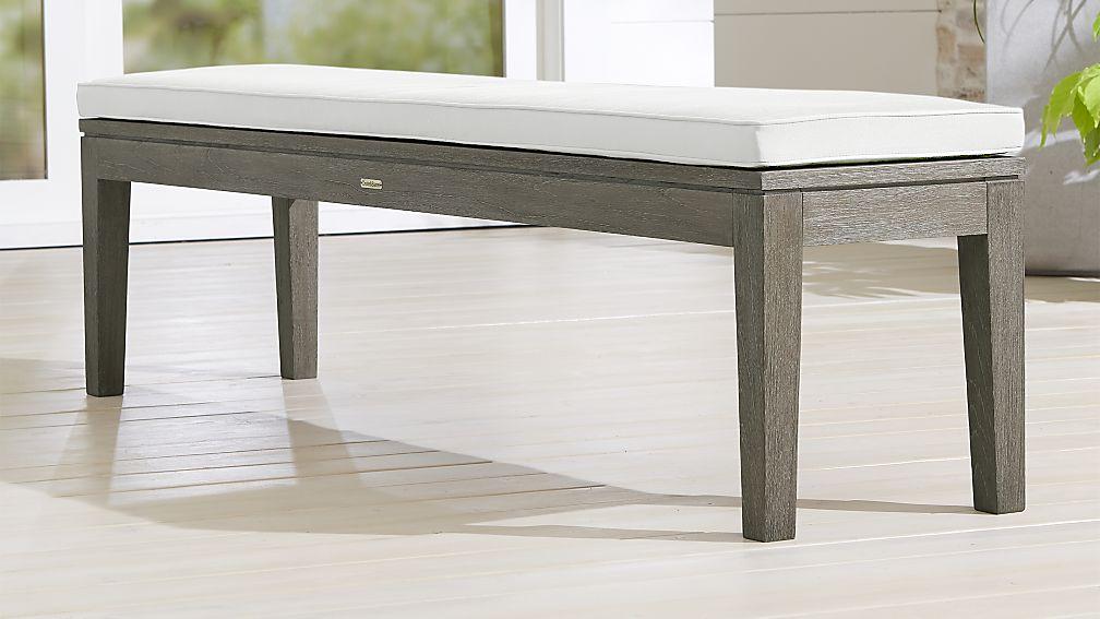 Regatta Grey Wash Dining Bench with White Sand Sunbrella ® Cushion - Image 1 of 3